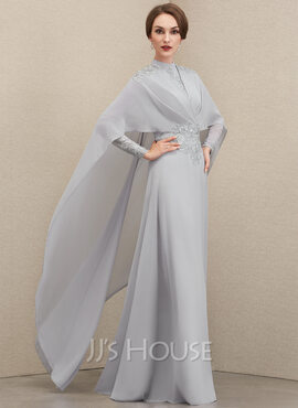 A-Line High Neck Floor-Length Chiffon Lace Mother of the Bride Dress With Ruffle (008204926)
