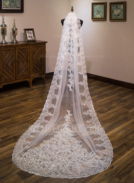 One-tier Lace Applique Edge Chapel Bridal Veils With Lace (006183279)