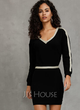 Polyester With Solid Above Knee Dress (199229249)