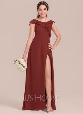 A-Line V-neck Floor-Length Chiffon Junior Bridesmaid Dress With Split Front Cascading Ruffles (009130623)