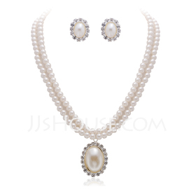 Unique Alloy/Pearl With Rhinestone Ladies' Jewelry Sets (011027687)
