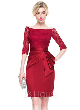 Sheath/Column Off-the-Shoulder Knee-Length Satin Lace Cocktail Dress With Ruffle (016081195)