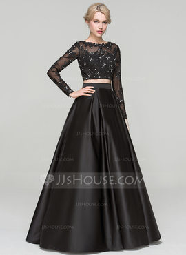 Ball-Gown Scoop Neck Floor-Length Satin Evening Dress With Beading (017093457)