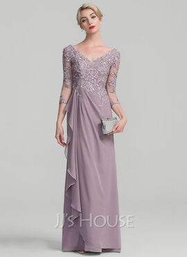 A-Line V-neck Floor-Length Chiffon Lace Mother of the Bride Dress With Beading Sequins Cascading Ruffles (008114240)