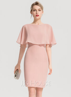 Sheath/Column Scoop Neck Knee-Length Chiffon Cocktail Dress With Cascading Ruffles (016154231)