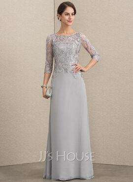 A-Line Scoop Neck Floor-Length Chiffon Lace Mother of the Bride Dress With Sequins (008164075)