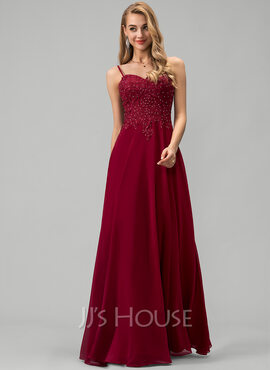 A-Line Sweetheart Floor-Length Chiffon Prom Dresses With Lace Beading (018220229)