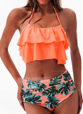 Cute High Waist String Polyester Spandex Bikinis