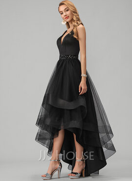 A-Line V-neck Asymmetrical Tulle Prom Dresses With Beading Sequins (018220253)