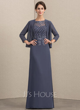 A-Line Scoop Neck Floor-Length Chiffon Mother of the Bride Dress With Beading (008164074)