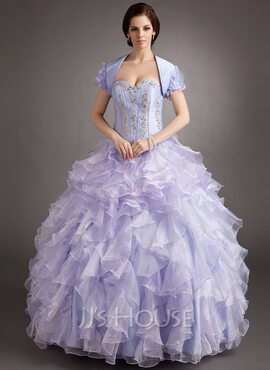 Ball-Gown Sweetheart Floor-Length Organza Quinceanera Dress With Beading Appliques Lace Cascading Ruffles (021016397)