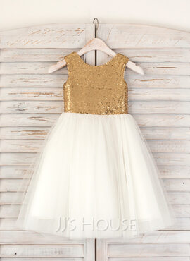 A-Line/Princess Tea-length Flower Girl Dress - Tulle Sequined Sleeveless Scoop Neck (269183969)