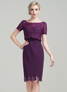 Sheath/Column Scoop Neck Knee-Length Chiffon Mother of the Bride Dress With Split Front (008085273)