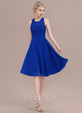A-Line/Princess Scoop Neck Knee-Length Chiffon Lace Bridesmaid Dress (007116650)