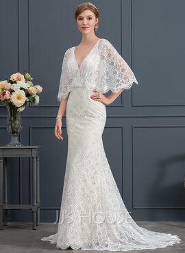 Trumpet/Mermaid V-neck Sweep Train Lace Wedding Dress With Beading Sequins (002171939)