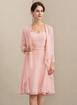 A-Line V-neck Knee-Length Chiffon Mother of the Bride Dress With Beading Sequins (008164080)