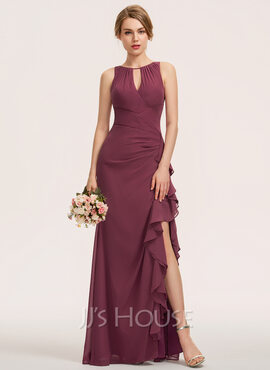 A-Line Scoop Neck Floor-Length Chiffon Evening Dress With Split Front Cascading Ruffles (017237022)