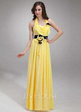 A-Line/Princess Halter Floor-Length Chiffon Holiday Dress With Ruffle Sash Beading (020026016)