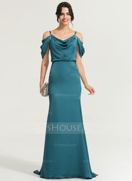 Trumpet/Mermaid Cowl Neck Sweep Train Satin Chiffon Evening Dress With Beading Sequins (017167709)