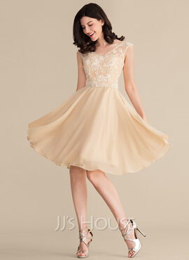V-neck Knee-Length Chiffon Lace Bridesmaid Dress With Beading Sequins (266189300)