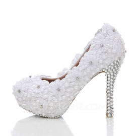 Women's Real Leather Stiletto Heel Closed Toe Platform Pumps With Rhinestone Stitching Lace (047054778)