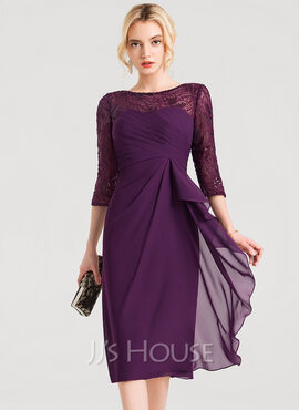 Sheath/Column Scoop Neck Knee-Length Chiffon Cocktail Dress With Lace Sequins Cascading Ruffles (270184054)