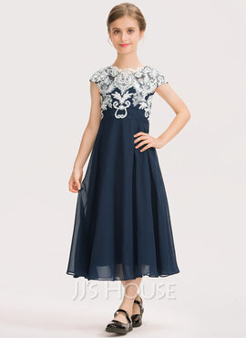 A-Line Scoop Neck Tea-Length Chiffon Lace Junior Bridesmaid Dress (009191700)