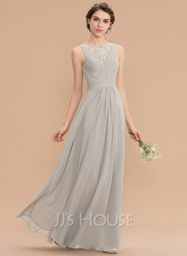 A-Line Scoop Neck Floor-Length Chiffon Lace Bridesmaid Dress With Ruffle (007176757)
