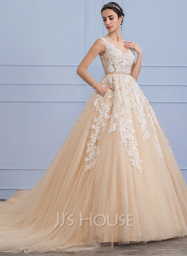Ball-Gown Scoop Neck Cathedral Train Tulle Lace Wedding Dress With Beading Pockets (002107826)