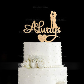 Personalized Kissing Couple Wood Cake Topper (119187794)