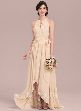 A-Line/Princess Scoop Neck Asymmetrical Chiffon Bridesmaid Dress With Ruffle Bow(s) (266183746)
