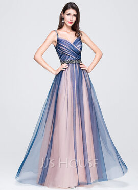 A-Line/Princess Sweetheart Floor-Length Tulle Prom Dresses With Ruffle Beading Sequins (018070395)
