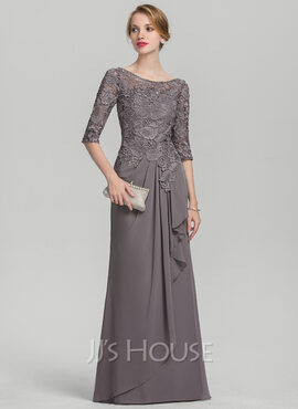 A-Line Scoop Neck Floor-Length Chiffon Lace Mother of the Bride Dress With Cascading Ruffles (008131932)