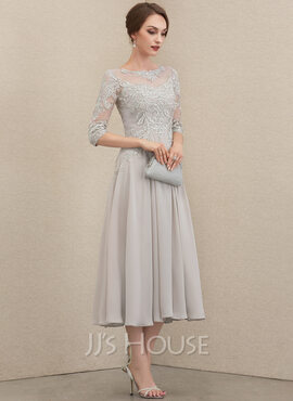 A-Line Scoop Neck Tea-Length Chiffon Lace Evening Dress With Beading Sequins (017237026)
