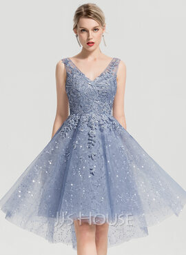 A-Line V-neck Asymmetrical Tulle Homecoming Dress With Sequins (022170675)