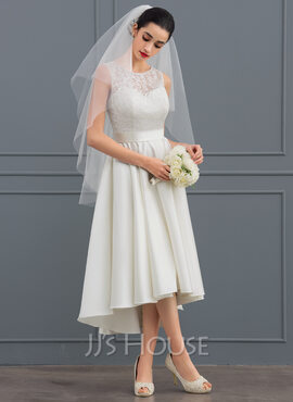 A-Line Illusion Asymmetrical Satin Lace Wedding Dress (002127338)