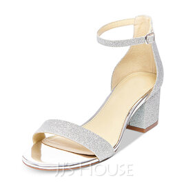 Women's Leatherette Sparkling Glitter Chunky Heel Sandals MaryJane With Buckle (047146114)