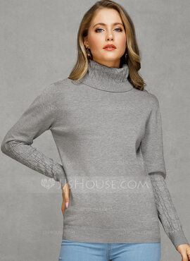 Chunky knit Solid Cotton Turtleneck Pullovers Sweaters (1002229156)