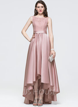 A-Line Scoop Neck Asymmetrical Satin Prom Dresses (018089691)