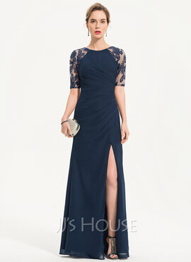 Sheath/Column Scoop Neck Floor-Length Chiffon Evening Dress With Sequins Split Front (017186151)