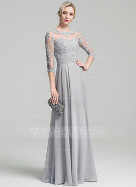 A-Line/Princess Scoop Neck Floor-Length Chiffon Evening Dress With Ruffle Appliques Lace (017096350)