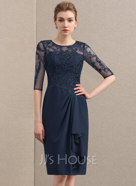 Sheath/Column Scoop Neck Knee-Length Chiffon Lace Cocktail Dress With Cascading Ruffles (016174103)