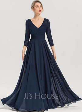 A-Line V-neck Floor-Length Chiffon Evening Dress (017153653)