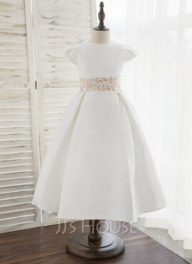 A-Line Tea-length Flower Girl Dress - Satin Short Sleeves Scoop Neck (010172359)