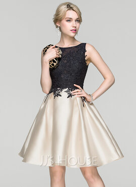 A-Line/Princess Scoop Neck Knee-Length Cocktail Dress (016094348)