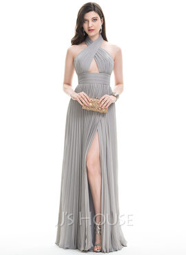 A-Line/Princess Halter Floor-Length Chiffon Evening Dress With Split Front Pleated (017105893)