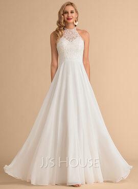A-Line High Neck Floor-Length Chiffon Wedding Dress (002215656)