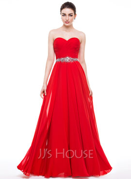 A-Line/Princess Sweetheart Floor-Length Chiffon Prom Dresses With Ruffle Beading Sequins (018056799)