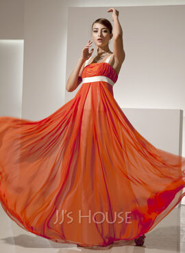 Empire Square Neckline Floor-Length Chiffon Holiday Dress With Ruffle Sash (020025838)