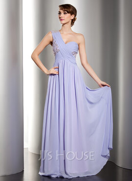 A-Line/Princess One-Shoulder Floor-Length Chiffon Holiday Dress With Ruffle Lace Beading Sequins (020014529)
